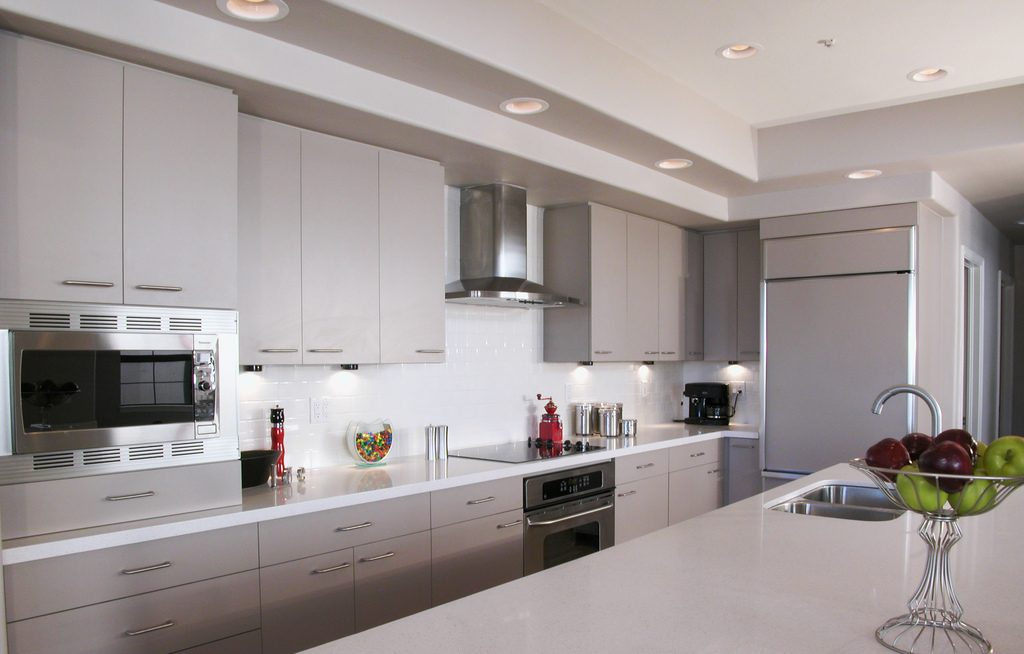 white cabinets and countertops